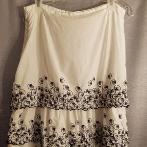 White Skirt with Black Embroidered Leaves